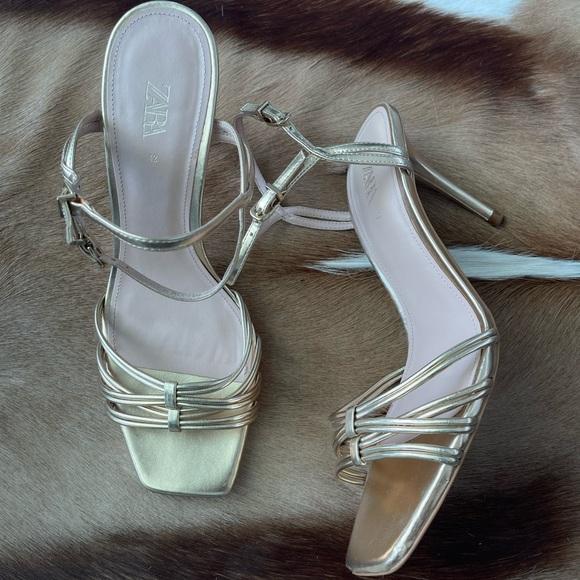 Zara Gold Strappy Sandal Heels
